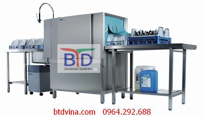 Máy rửa bát băng chuyền kết hợp giá- giải pháp cho khu bếp công nghiệp